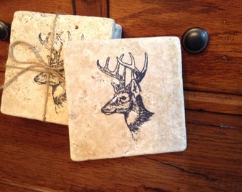 Coasters, Stone coasters, Hunter Gifts, Log Cabin Decor, Rustic Decor,  Deer Coaster, Rustic Coaster, Home Decor, Hunting Gift, Cabin Gifts
