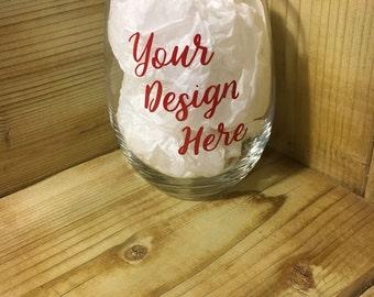 Custom wine glass//Stemless wine glass, wine glass, personalized, wineo, wine lover glass, relaxing wine glass