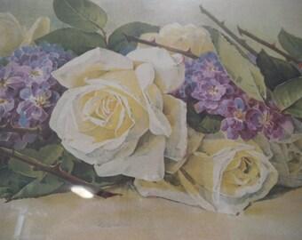 Bride Roses Violets Yard Long Print Paul de Longpre Chromolithograph Flower Floral Old Frame Antique Victorian