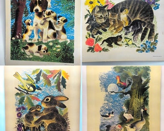 Vintage Adorable 1950s Animal illustration prints
