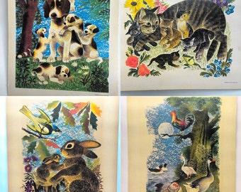Vintage Adorable 1950s Animal illustration prints