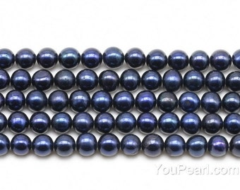 5-6mm black off-round pearls, natural real pearls, freshwater pearls, genuine pearl bead strands on sale, FR260-BS