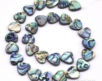 Abalone shell, 14x14mm, center drilled heart paua beads, natural ablone shell strand, loose abalone paua beads making necklace, ABA1070