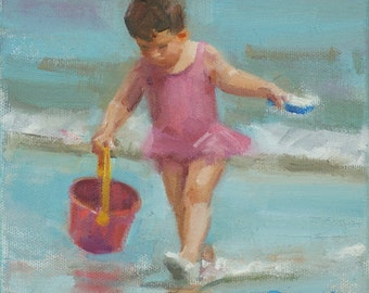 """Small oil painting of toddler on beach (""""The Beach Pail No. 3"""")"""