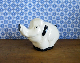 White Elephant Figurine Good Luck Charm Vintage Decor Baby Elephant Collectible Nursery Decor