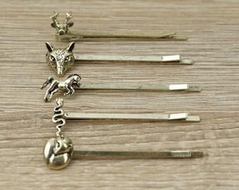 Animals Bobby pins, Wild Animals bobby pins, woodland hair pins, Deer bobby Pin, Horse bobby Pin, Snake bobby Pin, Fox bobby Pin, Cute Pins