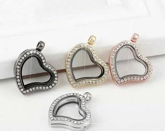 Free shipping 1pc 30mm Heart Shape Rhinestones Alloy Floating Lockets