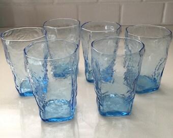 Mid Century Modern Glasses Set of 6 Blue Bubble Glass