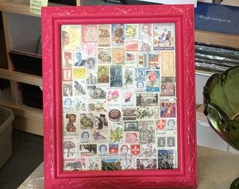 Vintage Stamp Art - Pink Lacquer Frame