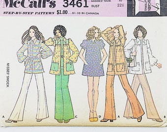 70s Smock Blouse Pattern | McCalls 3461 Misses Smock Pattern | 70s Sewing Pattern