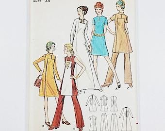 70s Shift Dress Pattern | Butterick 6027 Misses One Piece Dress & Pants Pattern | 70s Sewing Pattern