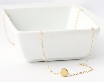 Tiny dot Necklace, Gold circle disc, dainty layering coin, minimal everyday, simple button necklace, minimal bridesmaid jewelry gift for her
