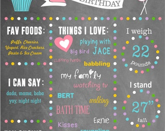 Polka Dot Birthday Chalkboard-Digital Download