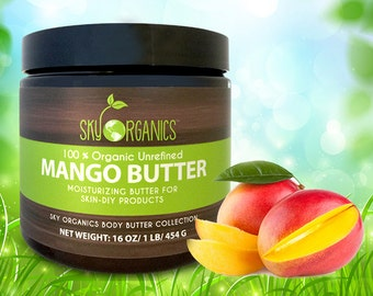 Raw Mango Butter by Sky Organics 16oz- 100% Pure, Unrefined, Organic Mango Butter-Skin Nourishing, Moisturizing & Healing, for Dry Skin