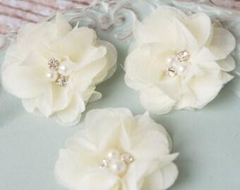 ivory mini chiffon flower, cream flower supplies, petite flower craft supplies, fabric flower, headband supplies flower supply, scrapbooking