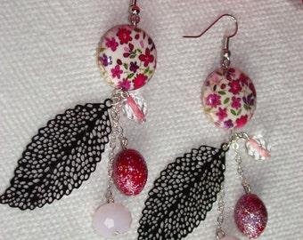 Flower Earrings your print pink sheet