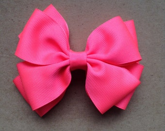 Neon Pink Hair Bow