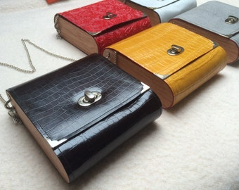 Leather wood bag