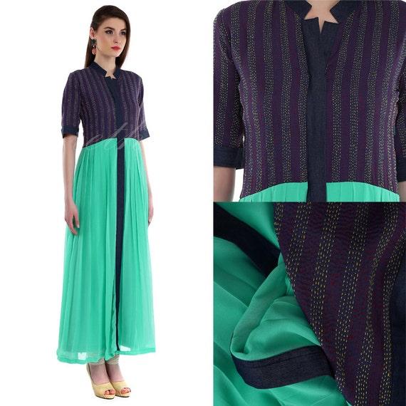 Kantha denim dress