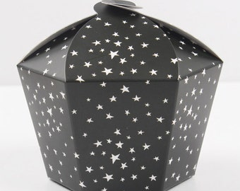 5 small hexagon star petal boxes,baby shower favor, wedding favor,1 muffin box, gift box, party favor box, cute boxes,polka dot box,birthday