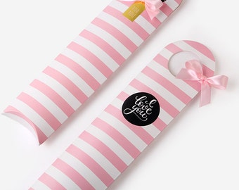 3 narrow pink stripes boxes, pepero stick boxes,pretzel stick boxes, gift boxes, party favor boxes, pocky,baby shower favor,wedding