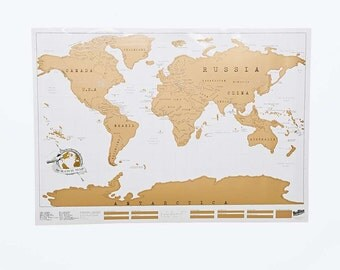 Map of the world scratch white 88x52cm