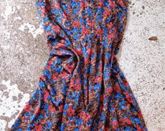 Vintage Dress - Slinky Sleeveless 70s Day Dress