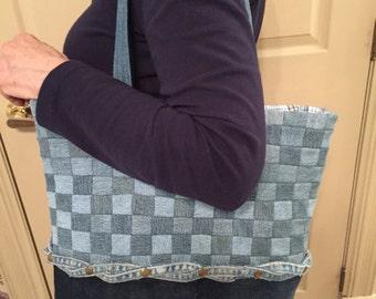 Patchwork Denim Tote bag, denim tote bag, large totebag, over the shoulder tote bag