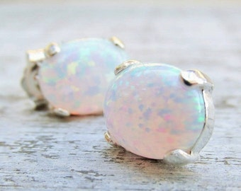 White Opal Earrings, Sterling Silver Opal Earrings, Post Earrings, Gift For Her, Bridesmaid Gifts, Studs, Opal Earrings, Silver Earrings