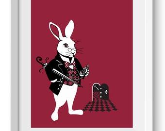 White Rabbit, Alice in Wonderland Art Print, original art