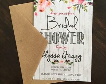 Shabby Chic Bridal Shower Invitations (Set of 25)