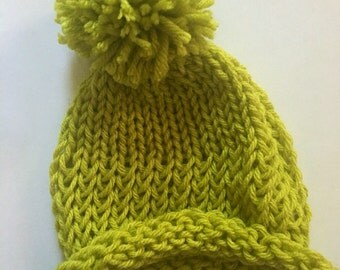 Newborn Hat, Knitted Hat, Winter Hat, Green Hat, Knit Hat, Infant Hat