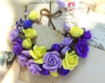 Сolorful bracelet Roses bracelet Charm bracelet Roses jewellery Purple bracelet Boho bracelet Flower bracelet Yellow bracelet Gift for her