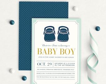 Baby Boy shower invitation, Booties shower invitation, baby moccasins baby shower invitation,baby shower invitation, boy, printable, printed