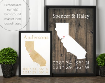 California State, personalized, custom, coordinate, house warming, newly weds, tourist, travel, traveler, gift, home decor, print, poster