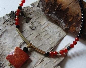 Necklace - Onyx with carnelian - Choker - modern