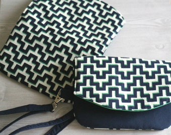Blue Green Patterned Clutch