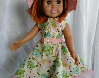 18 in doll clothes, dress and hat