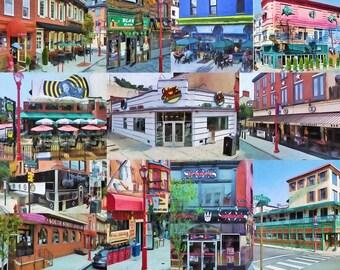 Philadelphia's South Street, Photomontage, Doors of South Street, Fine Art Print, Philadelphia, Urban Art, Street Scene, Art Print