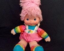 "Vintage-Rainbow Brite Baby Brite Plush Doll Yarn Hair Toy 1983 Hallmark 14"" with dress"
