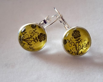 Yellow Colour Cabochon Earrings