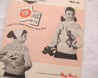 Mary Maxim Dancing Blades Graph Style Knitting Pattern / Mary Maxim No 464 ice skating sweater pattern boys girls / Sizes 8 10 12 / Cowichan