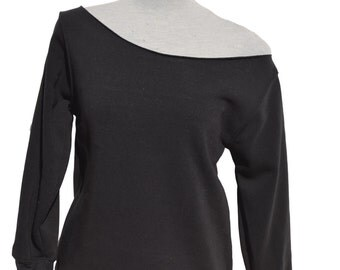 Black Off The Shoulder Sweatshirt