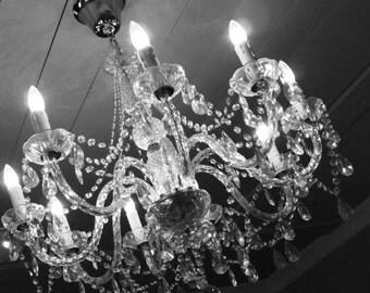 swinging chandelier print glass wall art