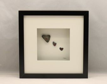 Pebble art love hearts, Unique gift, Luv, Friends.
