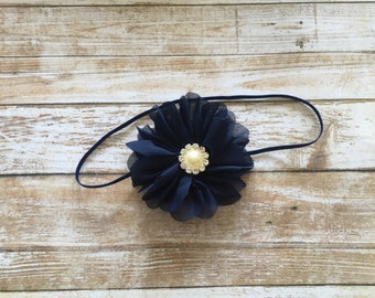 Navy Blue Flower Headband w/ Pearl Rhinestone/Baby Headband/Infant Headband/Baby Girl Headband/Toddler Headband/Children's Headband