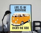 Vintage Camper van Art Print, Life Is An Adventure INSTANT DOWNLOAD Printable, Home Decor, Inspirational, Gift, Camping, RV, 8x10 inches