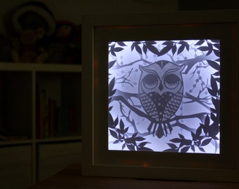 Layered sleepy owl papercut 3D Frame and Nightlight for Baby nursery or toddler room / perfect gift