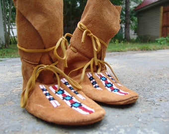 Mountain Man Rendezvous Beaded Moccasins