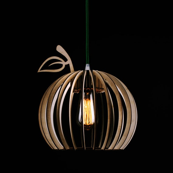 Wooden pendant light Brown wooden lamp Cherry by PromiDesign
